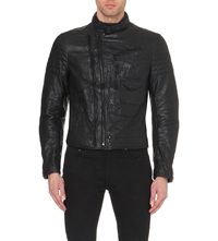 Ralph Lauren Engine Leather Jacket Rider Black