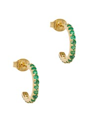 Lola Rose 18Kt Gold Plated Sterling Silver Hoop Earrings Green