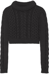 Tibi Cropped Cable Knit Sweater Black