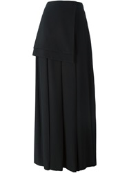Off White Long Pleated Layered Skirt Black