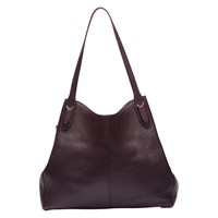Lulu Guinness Jackie Grainy Leather Tote Bag Aubergine Orange