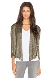 Haute Hippie Drapey Sequin Blazer Metallic Gold