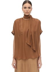 Agnona Silk Top W Scarf Copper