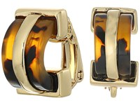 Lauren Ralph Lauren Riding High Small Tortoise Clip Hoop Earrings Tortoise Gold Earring Brown