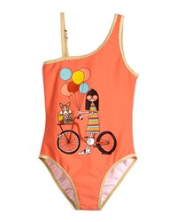 Little Marc Jacobs Metallic Trim Ms. Marc One Piece Swimsuit Coral