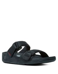 Fitflop Adjustable Strap Leather Slides Chocolate