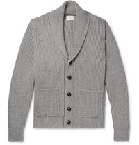 Kingsman Shawl Collar Ribbed Wool And Cashmere Blend Cardigan Gray