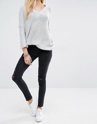 Noisy May Lucy Ankle Grazer Jeans With Rips And Raw Hem Black