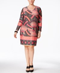 Ny Collection Plus Size Printed Shift Dress Coral Tiki God