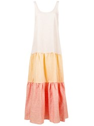 Lisa Marie Fernandez Sleeveless Three Tier Linen Dress Multi Coloured Linen Orange Yellow Peach Meta