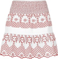 River Island White And Red Broderie Mini Skirt