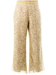 Peter Pilotto Zig Zag Hem Floral Trousers Women Silk Nylon Polyester Viscose 10 Metallic
