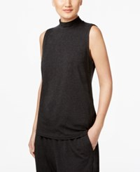 Eileen Fisher Mock Neck Shell Charcoal