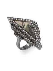 Alexis Bittar Crystal Stepped Fancy Pyramid Cocktail Ring Gunmetal