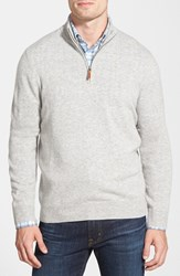 Men's Big And Tall Nordstrom Regular Fit Cashmere Quarter Zip Pullover Grey Light Heather
