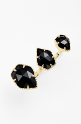 Kendra Scott 'Naomi' Double Finger Ring Gold Black Opaque Glass