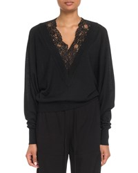 Chloe Lace Inset V Neck Wool Silk Pullover Sweater Black