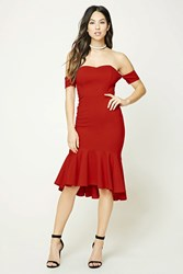 Forever 21 Strapless Sweetheart Dress Red
