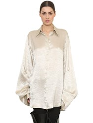 Ann Demeulemeester Oversized Satin Shirt White