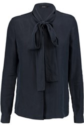 Raoul Flora Pussy Bow Silk Crepe Blouse Midnight Blue