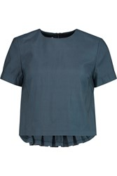 Suno Pleated Woven Cotton Blend Top Blue