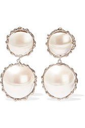 Rosantica Carducci Palladium Tone Mother Of Pearl Clip Earrings Silver