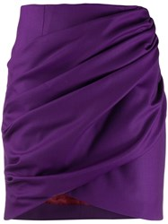 Sara Battaglia Draped Mini Skirt Purple