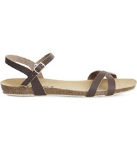 Office Safari Cross Strap Leather Sandals Brown Leather
