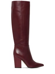 Sergio Rossi 90Mm Tall Leather Boots Bordeaux