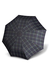 Knirps 'Duomatic' Umbrella Blue Check Navy Green