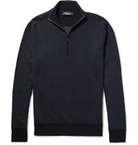 Loro Piana Roadster Striped Cashmere Half Zip Sweater Navy