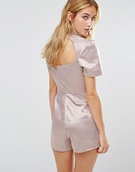 Fashion Union High Neck Playsuit With Open Back Pink
