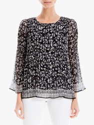 Max Studio Ditsy Floral Pleat Top Black Ivory