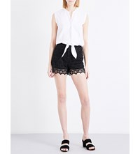 Sandro Sleeveless Scalopped Hem Cotton And Lace Playsuit Black