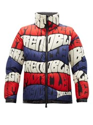 Moncler Grenoble Limmat Logo Wave Print Down Filled Ski Jacket Navy Multi