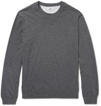 Brunello Cucinelli Fleece Back Cotton Jersey Sweatshirt Charcoal