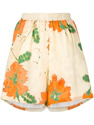 Roseanna Floral Printed Shorts Women Silk Cotton 36 Yellow Orange