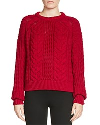 Maje Maxime Cable Knit Sweater Red