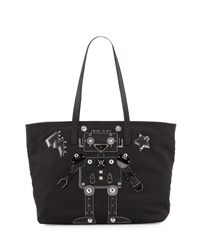 Prada Medium Nylon Robot Tote Bag Black