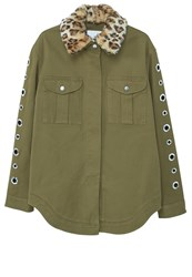 Mango Hula Summer Jacket Khaki Dark Green