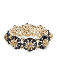 Design Lab Lord And Taylor Stone Accented Floral Stretch Bracelet Black