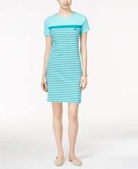 Karen Scott Petite Short Sleeve Striped Dress Only At Macy's Island Sky