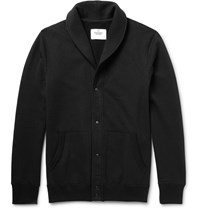 Reigning Champ Shawl Collar Loopback Cotton Jersey Cardigan Black