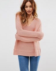 Asos Ultimate Chunky V Neck Jumper With Stitch Detail Pink