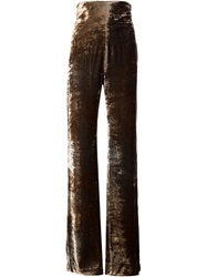 Y Project High Waisted Velvet Trousers Brown