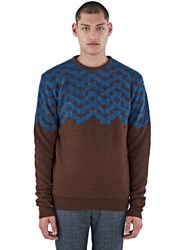 Kolor Geometric Hairy Knit Sweater Brown