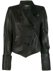Ann Demeulemeester Asymmetrical Leather Jacket Black