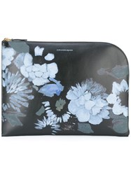Alexander Mcqueen Floral Print Curved Clutch Black