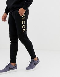 Nicce London Skinny Joggers In Black With Gold Logo