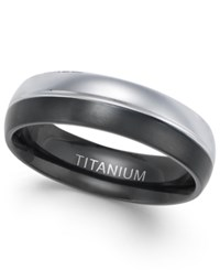 Sutton By Rhona Sutton Men's Two Tone Titanium Ring Black